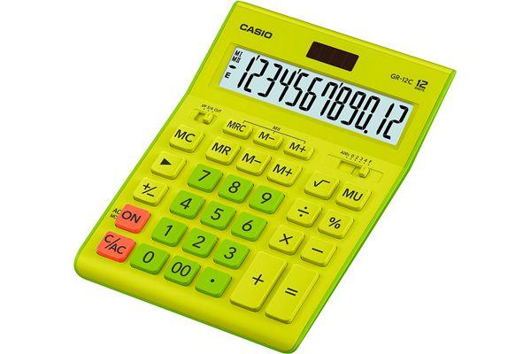 Kalkulatory Biurowe Casio Stylish Kolorowe Do biura i domu Do księgowości Do banku Do centrum logistycznego/magazynu GR-12C-GN