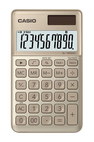 Kalkulatory Casio Kieszonkowe Stylish Kolorowe Do szkoły Do biura i domu SL-1000SC-GD-S